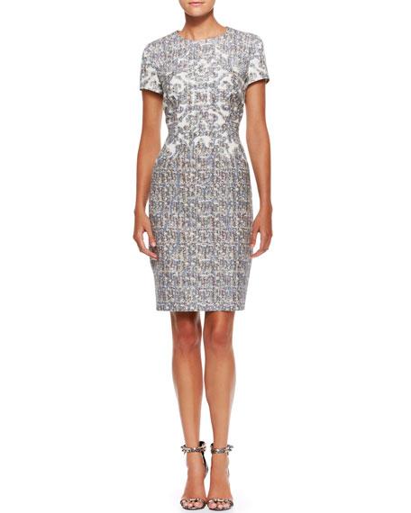 Short-Sleeve Printed Dress, Sky