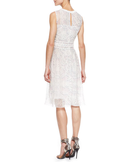 Sleeveless Sheer Knit Lace Dress, White/Multi