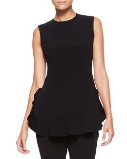 Escada Sleeveless Side-Ruffle Tank Blouse