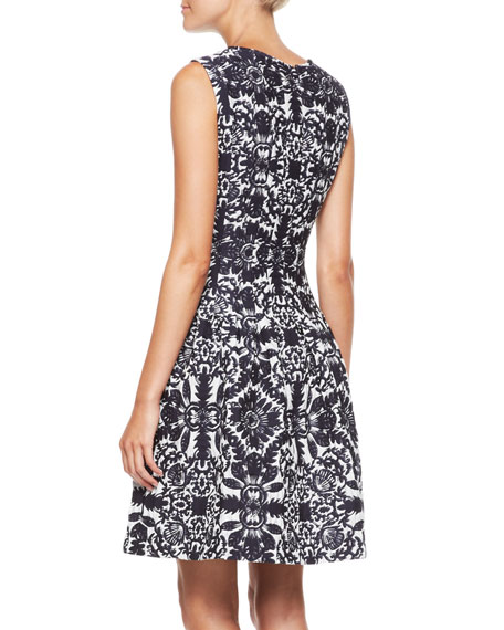 Sleeveless Jacquard Dress, Navy