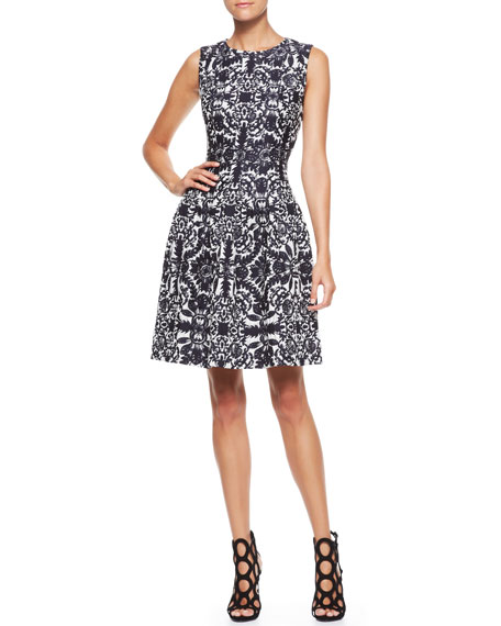 Sleeveless Jacquard Dress, Navy