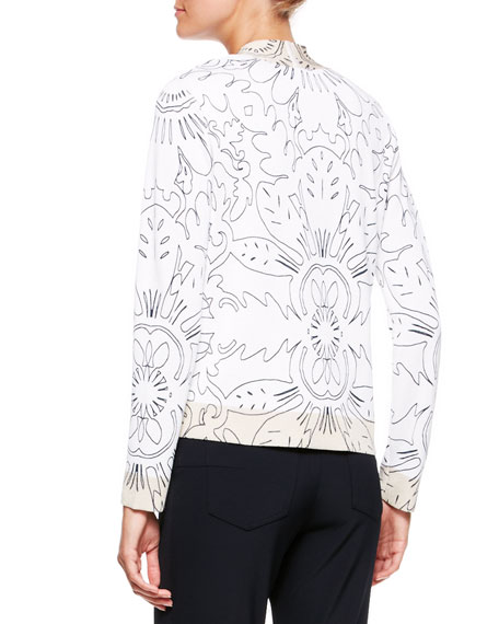 Printed Knit V-Neck Cardigan, White/Multi