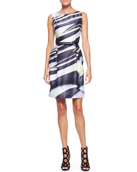 Sleeveless Printed Dress, Navy