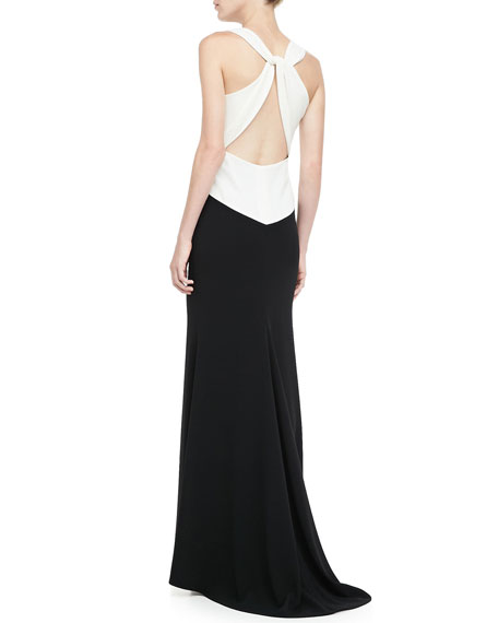 Embroidered Colorblock Evening Gown, Black/White