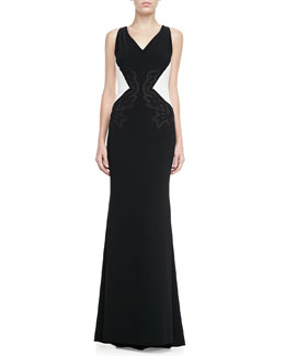 Escada Embroidered Colorblock Evening Gown, Black/White