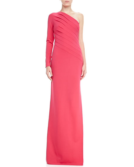 One-Shoulder Long-Sleeve Gathered Gown, Blossom