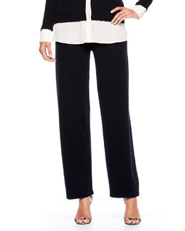 Escada Side-Button Cashmere Pants, Navy