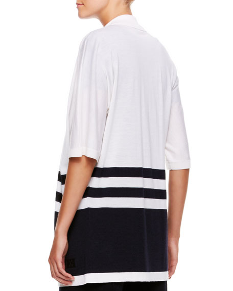 Colorblock Silk Sequin-Striped Top, White/Navy