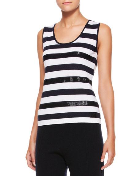 Sequin-Striped Wool-Silk Tank, Navy/White