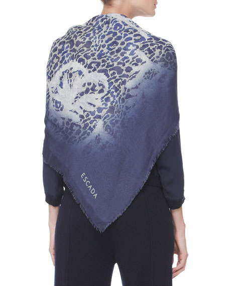 Printed Silk Scarf, Navy/Gray