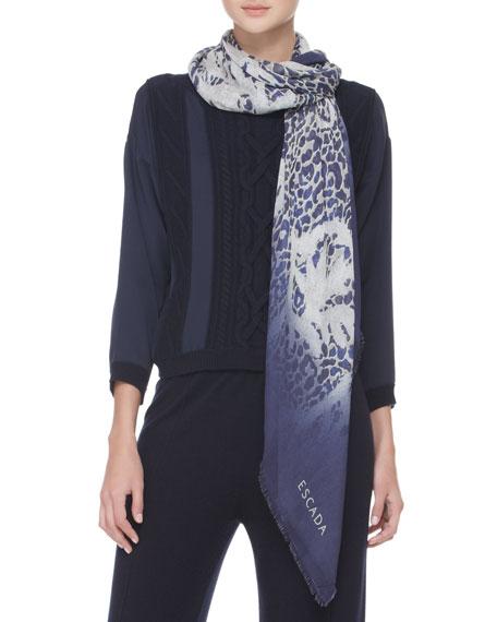 Printed Silk Scarf, Navy/Gray