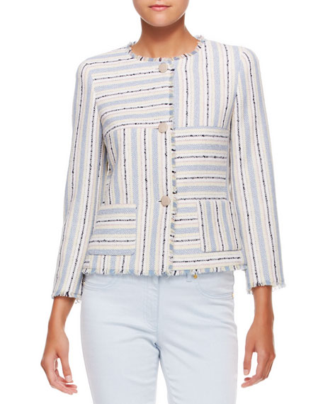 3-Button Patchwork Jacket, Off-White/Blue