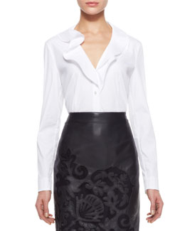 Escada Ruffled Button-Up Blouse