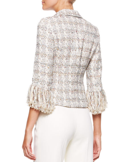 3-Button Fringe-Sleeve Blazer, Moonstone