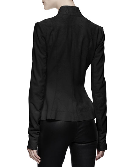 Hollywood Double-Breasted Leather Jacket, Black