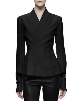 Rick Owens Hollywood Double-Breasted Leather Jacket, Black