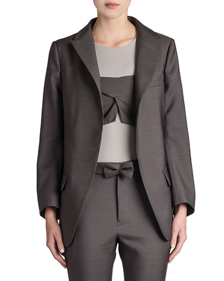 Reagan Long Wool-Silk Blazer