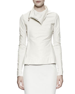 Rick Owens Zipped Leather/Knit Turtleneck Jacket, Milk White