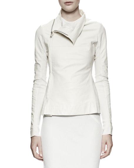 Zipped Leather/Knit Turtleneck Jacket, Milk White