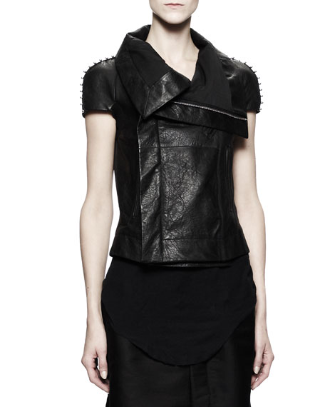 Short-Sleeve Biker Leather Jacket with Studs, Black