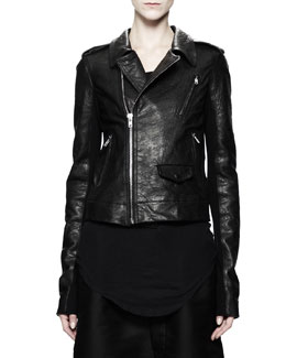 Rick Owens Stooges Multi-Zip Leather Jacket, Black