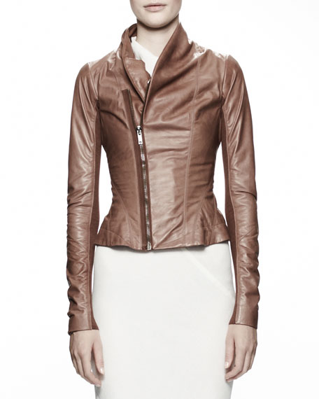 Princess Biker Leather Jacket, Caramel