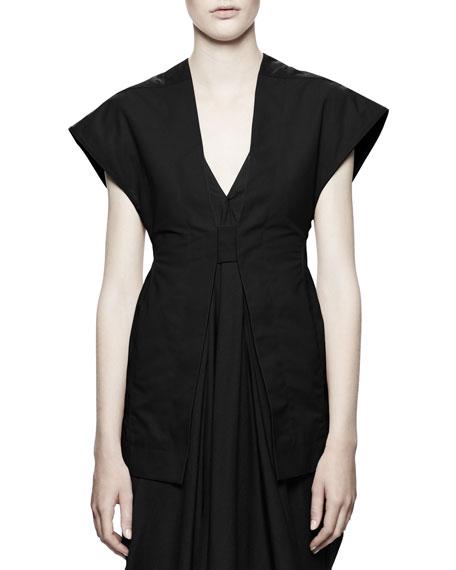 Carapace Cap-Sleeve Tab-Front Vest, Black
