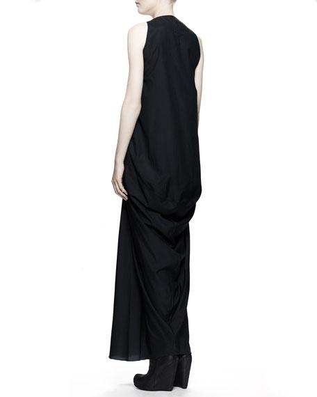 Aurora Plunging-V Gown Dress, Black