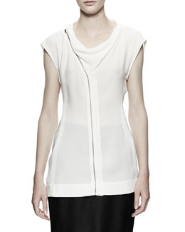 Rick Owens Draped Zip-Front Shell, White