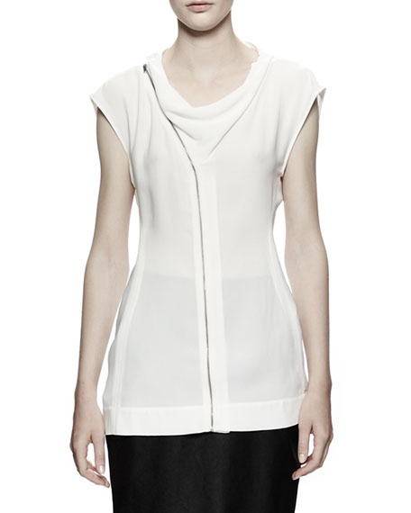 Draped Zip-Front Shell, White