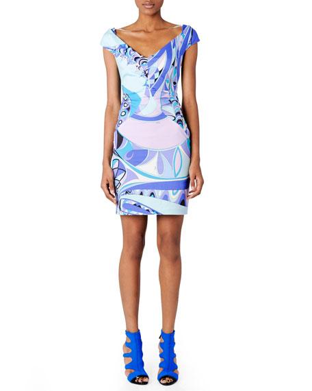 Printed Offset-Shoulder Dress