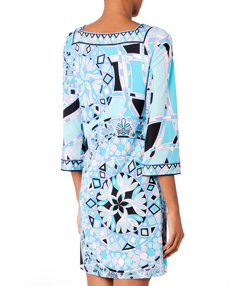3/4-Sleeve Printed Dress