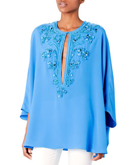 Emilio Pucci Short Beaded Silk Caftan