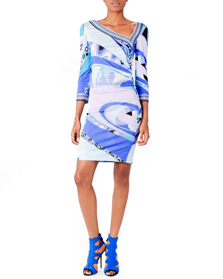 Asymmetric Printed Jersey Dress, Blue