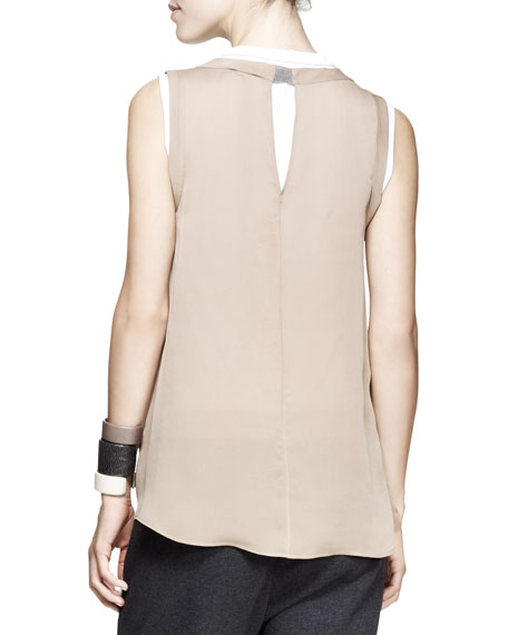 Sleeveless Crepe Cylinder Top