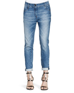 Brunello Cucinelli Bias-Cut Denim Jeans