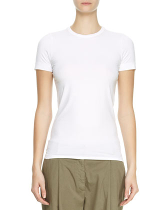Flat Cotton Short-Sleeve Tee, White