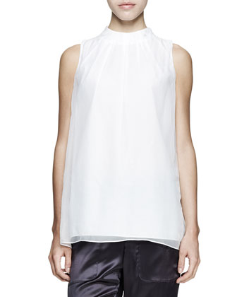 Sleeveless Pleated Chiffon Top
