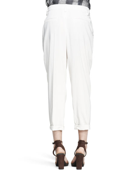 Tapered Pleated Crepe Pants
