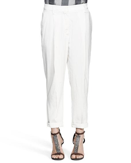 Tapered Pleated Crepe Pants