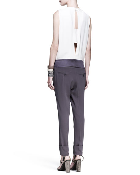 Tricolor Drop-Waist Jumpsuit