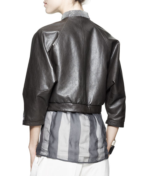 Cropped Leather Monili-Collar Jacket