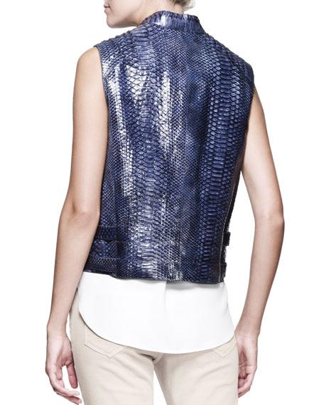 Shiny Python Moto Vest