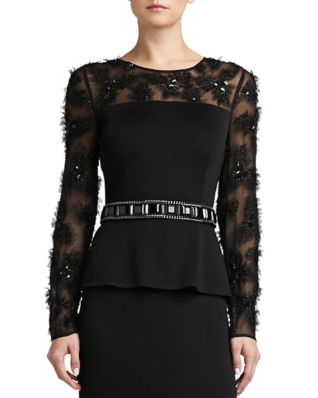 Crepe Marocain Hand-Beaded Belt with Chain & Grosgrain Tie