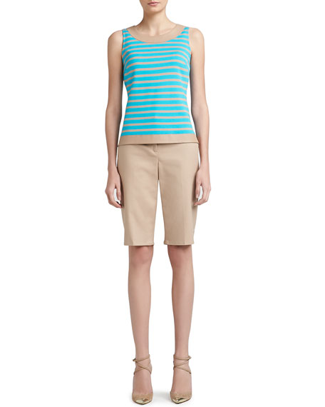 Doubleweave Stretch Cotton Bermuda Short with Pockets, Belt Loops and Side Slit
