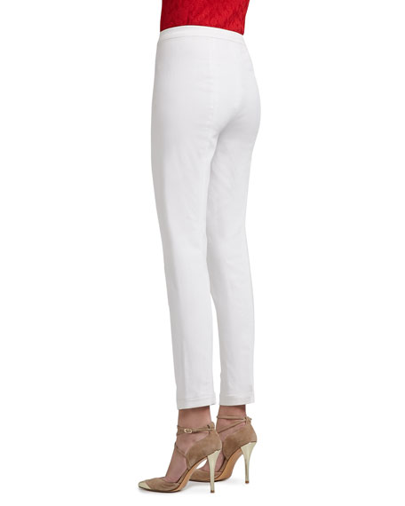 Soft Stretch Denim Leggings with Elastic Waistband and Back Leg Seam Detail