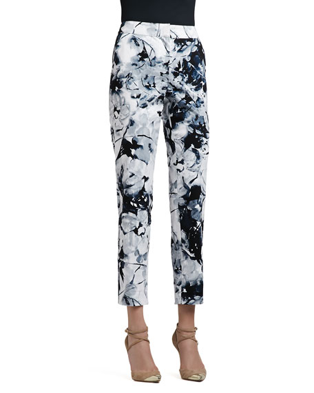 Floral-Print Stretch Cotton Sateen Cropped Pants with Pockets