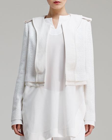 Shimmery Tweed Jacket, Cream