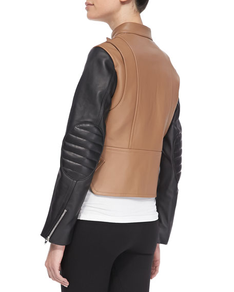 Zip-Up Leather Moto Jacket, Truffle