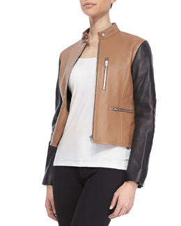 Alexander Wang Zip-Up Leather Moto Jacket, Truffle